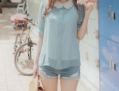 spring - cute pastel blue polkadot with a lace collar paired with denim shorts.