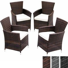 Miadomodo® RTST05/4brown 4pc Set Rattan Chairs with Cushions DIFFERENT COLOURS (Brown)