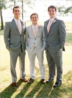 Grey and pink groomsmen ideas. Captured By: Austin Gros ---> http://www.weddingchicks.com/2014/05/28/get-married-in-charleston/