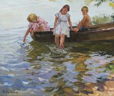 Yuri Krotov - Summer by the rivers edge, Oil on canvas, 26 x 34 Inches - Petleys Ltd, contemporary fine art | SmugMug