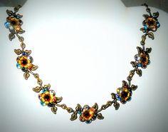 Vintage Michal Negrin Layered Floral Necklace Blue by VampsVintage