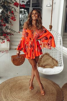 Our Moral Of The Story Playsuit sits perfectly off the shoulder, has a drawstring neckline and waist and long off shoulder sleeves that flute at the cuff Pair this relaxed style with an elegant updo and black block heels! Orange playsuit Not lined - # Summer Vacation Outfits, Hawaii Outfits, Honeymoon Outfits, Spring Outfits, Cancun Outfits, Mexico Vacation Outfits, Cruise Outfits, Summer Outfit, Beach Honeymoon Clothes