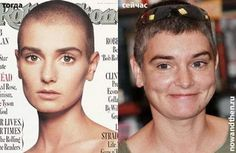 Sinead O'Connor, looking a bit older, with slightly more hair.