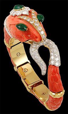 DAVID WEBB Diamond, Coral & Cabochon Emerald Snake Bangle - Yafa Jewelry