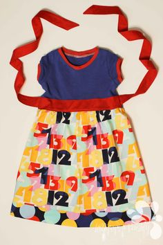 Ready to Ship I Can Count Blue Ribbon Knit Size 5 Number Dress Primary Red Yellow Back to School Cap Sleeves Handcrafted Made in the USA by LollipopsPaisley on Etsy