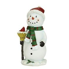 Felices Pascuas Collection 10.25 inch Festive Snowman Holding Broom with Cardinal Bird Christmas Figure