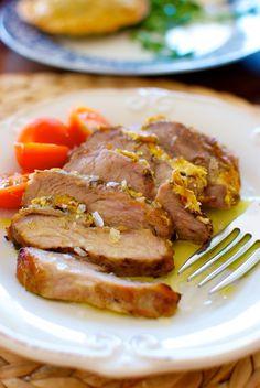 Cerdo asado con miel y mostaza