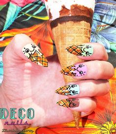 Sugar Cone Ice Cream Nails So cute but you would have to have pointy nails, maybe a cup instead of a cone? Get Nails, How To Do Nails, Tumblr Nail Art, Ice Cream Nails, Fingernails Painted, Sugar Cones, Summer Ice Cream, Pointy Nails, Dream Nails