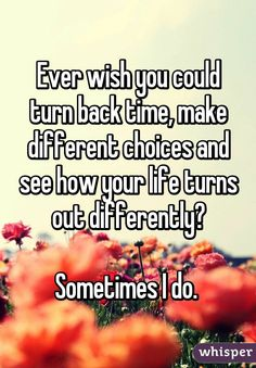 """""""Ever wish you could turn back time, make different choices and see how your life turns out differently?  Sometimes I do. """""""