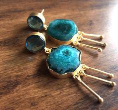 Green Agate Earring/Blue Glass Earrings/Statement by FootSoles