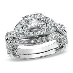 1/2 CT. T.W. Princess-Cut Diamond Twist Bridal Set in 14K White Gold