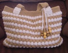 Gorgeous crochet summer tan and white purse by MyNicePurses, $55.00