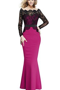 Viwenni Women Lace Maxi Cocktail Party Evening Fromal Gown Dress (XX-Large a092eafee46f