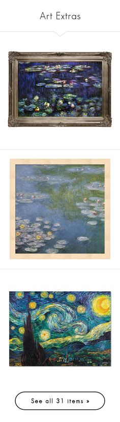 """Art Extras"" by thesassystewart on Polyvore featuring home, home decor, wall art, claude monet paintings, framed wall art, green painting, water lilies painting, green wall art, black and black wall art"