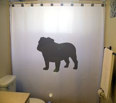 Totally unnecessary--but this would be so fun! bulldog shower curtain dog bull kids by CustomShowerCurtains, $45.99