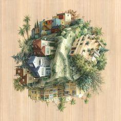 Abismo arquitetônico nas ilustrações de Cinta Vidal,Tree cities and a house. Imagem cortesia de Cinta Vidal