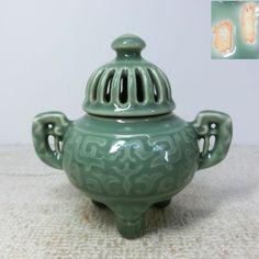 Japanese blue porcelain ware Med- Large NABESHIMA-SEIJI incense burner by Chosun. O