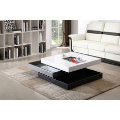 modern rotary coffee table in white grey and dark grey by jm contemporary