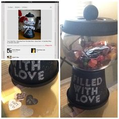 So I made the candy dish for my fiancé...it's filled with heart cutouts and have bible verses about love and marriage on the back of them. I used primer black spray paint, a wooden dowel from michaels, a plastic flower pot, and Martha Stewart glitter :)
