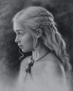 Black and white drawing Profile Emilia Clarke. 201 by Drawing-Portraits on DeviantArt