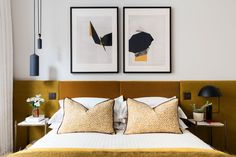 Mid Century Bedroom Furniture for Sale, Mid Century Modern Bedroom Decorating Ideas, Mid Century Bedroom Decorating Ideas, Velvet Headboard, Modern Headboard, Modern Bedroom Decor, Contemporary Bedroom, Home Bedroom, Headboard Ideas, Yellow Headboard, Bedroom Yellow, Bedroom Ideas