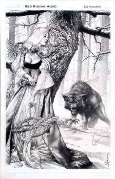 """Red Riding Hood"" Art by Jay Anacleto. Anime Art Fantasy, Dark Fantasy Art, Fantasy Artwork, Dark Art, Art Sketches, Art Drawings, Werewolf Art, Fantastic Art, Red Riding Hood"