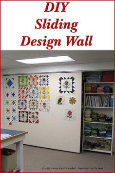 Sliding Quilt Design Wall DIY Sliding Design wall for your quilt or craft studio at Freemotion by the RiverDIY Sliding Design wall for your quilt or craft studio at Freemotion by the River Sewing Room Design, Sewing Room Storage, Craft Room Design, Sewing Spaces, Sewing Room Organization, My Sewing Room, Craft Room Storage, Sewing Studio, Sewing Rooms
