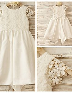 A-line Knee-length Flower Girl Dress - Cotton/Lace Short Sleeve