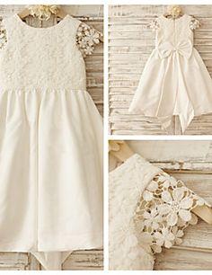 A-line+Knee-length+Flower+Girl+Dress+-+Cotton/Lace+Short+Sle...+–+GBP+£+48.99