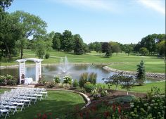 We love this serene ceremony site at the Silver Lake Country Club in Orland Park, IL.
