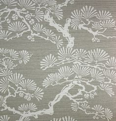 Keros Vinyl Wallpaper A block print inspired vinyl wallpaper featuring a stylised pine tree design in silver on a pewter background.