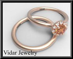 Diamond-And-Orange-Sapphire-Wedding-Ring-Set-Unique-Rose-Gold-Set