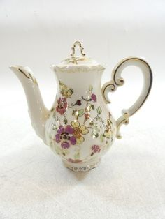 Zsolnay Hungary Hand Painted Floral Teapot