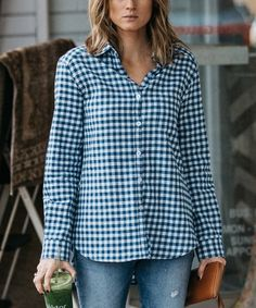 Look what I found on #zulily! Blue & White Gingham Button-Up #zulilyfinds