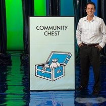 Our Monopoly Community Chest Standee looks just like the square on the board game where the stack of Community Chest cards are placed. Monopoly Themed Parties, Monopoly Party, Monopoly Game, Monopoly Board, Party Props, Party Games, Party Ideas, Stumps Party, Rubble Paw Patrol