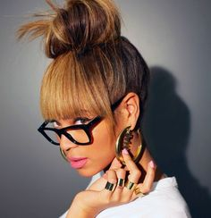 Bey has cutest topknot, bangs, and color. I want...#swaggerjacker #beyonce #hair #celeb #style #inspiration
