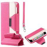cool myLife Bright Poppy Pink + White {Modern Design} Faux Leather (Card, Cash and ID Holder + Magnetic Closing + Hand Strap) Slim Wallet for the iPhone 5C Smartphone by Apple (External Textured Synthetic Leather with Magnetic Clip + Internal Secure Snap In Hard Rubberized Bumper Holder)