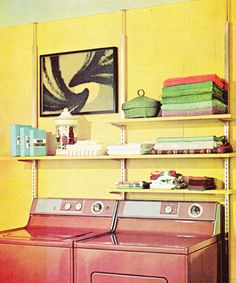 1960s Decor, Laundry Room Design, Laundry Area, Vintage Laundry, Retro Home, Mid Century House, Mid Century Design, House Rooms, Home Projects