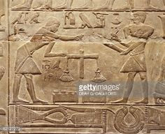 Egypt - Cairo - Ancient Memphis (UNESCO World Heritage List, 1979). Saqqara. Necropolis. Private funerary mastaba of Mereruka, 6th Dynasty, 2349 BC. Relief of goldsmiths weighing gold