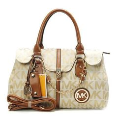 Michael Kors Logo Chain Large Khaki Satchels Outlet