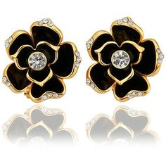 Scheppend 18k White Gold Plated Flower Shaped with Black or yellow... ($11) ❤ liked on Polyvore featuring jewelry, earrings, 18 karat gold stud earrings, flower earrings, 18 karat gold jewelry, 18k jewelry and yellow earrings