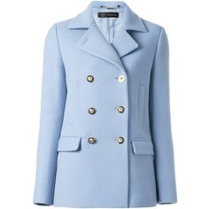 Versace Double Breasted Peacoat (€1.825) ❤ liked on Polyvore featuring outerwear, coats, blue, versace coat, wool coat, double breasted wool peacoat, pea coat and blue wool coat
