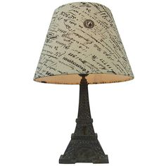 Simple Designs Paris Eiffel Tower Lamp and Printed Shade (¥3,760) ❤ liked on Polyvore featuring home, lighting, brown, brown shade, black and white lamp, eiffel tower lights, colored lamps and black and white damask lamp