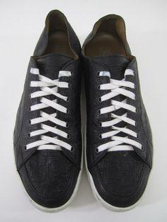 SALVATORE FERRAGAMO Men's Black White Leather Horsebit Print Lace Up Sneakers