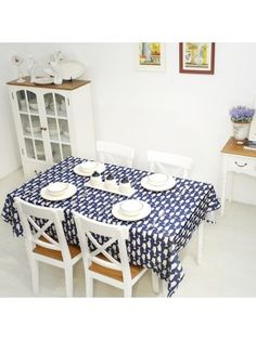 Mediterranean Style Table Cloth with Whale