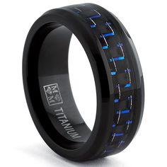 Amazon.com: Black Titanium Wedding Band Ring with Black and Blue Carbon Fiber inlay, Comfort fit 8mm, Sizes 7 to 13: Clothing
