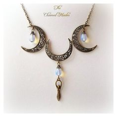 Bronze Pagan Moon Goddess Necklace, Opalite Triple Moon Necklace,... ❤ liked on Polyvore featuring jewelry, necklaces, gaia, chain necklace, chains jewelry, adjustable necklace and filigree jewelry