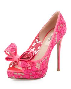 Peep-Toe Lace Bow Pump, Pink by Valentino at Neiman Marcus.