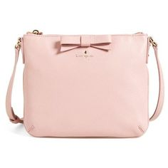 kate spade new york 'north court - bow tenley' pebbled leather... ($178) ❤ liked on Polyvore featuring bags, handbags, shoulder bags, accessories, kate spade, rose jade, pink crossbody, pink cross body purse, kate spade purses and bow purse