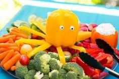 Veggi Platter with Pepper Octopus! Featured on BBL: http://beachblissliving.com/beach-party-food-ideas/